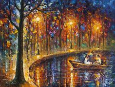 Leonid Afremov -  OUR LITTLE BOAT -  Original, oil, painting, palette knife, impressionist, impressionism, surreal, surrealism, buy painting , purchase art, purchase painting, gallery