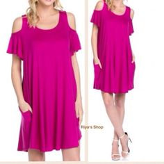 """The """"MMAGENTA"""" cold shoulder jersey dress When it's time to shift your gears into glamour mode, this Magenta cold shoulder dress is our most dearly beloved.  Material: 95% rayon, 5% spandex. Very very comfortable.  It has pockets as shown in pics. Available in Small, Medium and Large. Comment your size and I can make a separate listing for you. Made in USA Dresses"""