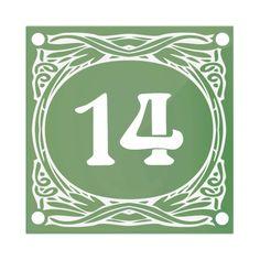 """Numéro de rue émaillé """"Art Nouveau"""" à personnaliser - Vert"""