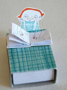 A matchbox. Super, super wonderfulness from Jenny Meilihove, via little.lovely (which is, indeed, always lovely). Matchbox Crafts, Matchbox Art, Paper Art, Paper Crafts, Diy Cadeau, Stationery Craft, Creative Box, Tiny Treasures, Little Boxes