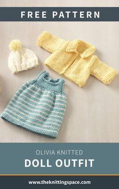 Knitted Dolls Dress Pattern, Knit Doll Hat, Knitted Dolls Free, Doll Dress Patterns, Knitting Dolls Clothes, Baby Doll Clothes, Crochet Doll Clothes, Kids Knitting Patterns, Free Knitting