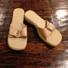 BCBG slides Gently used beige slides. In good condition. Made in Brazil. Leather fabric. BCBG Shoes Flats & Loafers