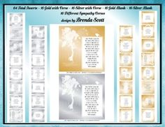 Sympathy Inserts to fit 8 x 8 Cards by Brenda Scott Sympathy Insert to fit 8 x 8 Cards. 64 total Inserts - you will receive 16 Gold with… Sympathy Verses, Card Making, Fitness, Cards, Gold, Design, Maps, Handmade Cards