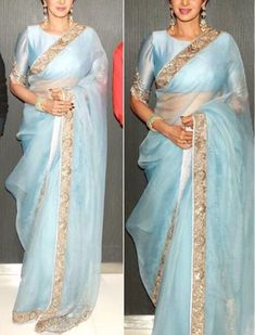 Powder blue saree with gold border
