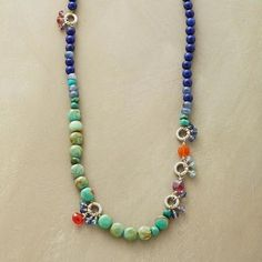BLUES FESTIVAL NECKLACE - Our blue and multicolored gemstone necklace will sing in sweet harmony with so many looks.