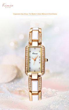 Кимио прямоугольник со стразами имитация керамический браслет дамы кварцевые часы 2017 Элитный бренд женские наручные часы для женское платье купить на AliExpress