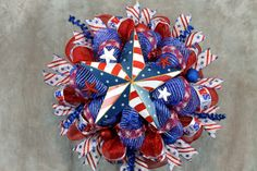 Patriotic Deco Mesh Wreath Patriotic by SouthernCharmFlorals, $58.95
