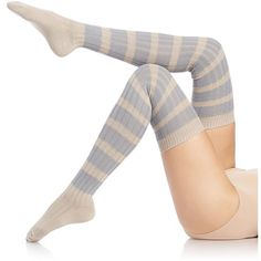 Free People Rugby Stripe Over-the-Knee Socks ($24) ❤ liked on Polyvore featuring intimates, hosiery, socks, grey combo, stripe socks, gray socks, above the knee socks, overknee socks and over the knee hosiery
