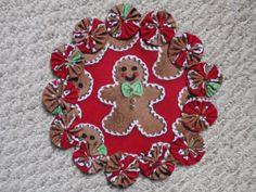 Gingerbread Man Cookie yo yo mat doily/matpenny rug by SursyShop, $8.00