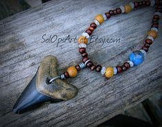 Megalodon Shark Tooth Necklace with Faceted Agate by SolOpsArt