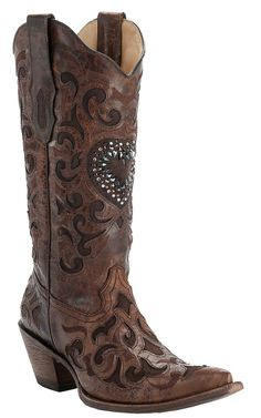 Corral Ladies Cognac with Chocolate Inlay & Crystal Heart Snip Toe Western Boots