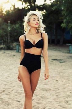 Black swimsuit at the beach.