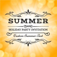 Summer party picnic vintage invitation with sunlight vector back vector art illustration