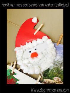 kerstman baard wattenballetjes  #knutselen #kerst #peuters #kleuters #kerstman #kinderen