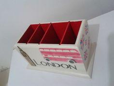 Porta controle remoto London | Neiva Artes em MDF | Elo7