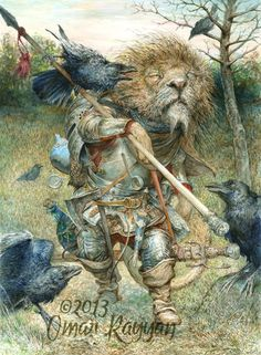 """The Long Walk Home"" by Omar Rayyan. Big cat warrior in his armor, battle weary and tired, carries his life on his back and makes his way home. Are the ravens helping or hindering the Omar Rayyan, Wow Art, All Nature, Children's Book Illustration, Book Illustrations, Fantasy Art, Fairy Tales, Concept Art, Creatures"
