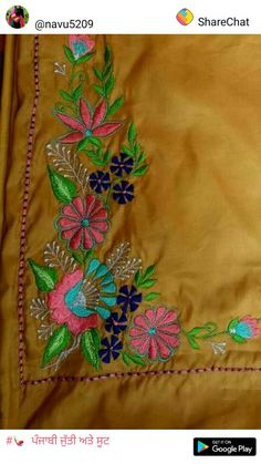 Latest Embroidery Designs, Hand Embroidery Design Patterns, Embroidery Suits Design, Embroidery Fashion, Machine Embroidery Designs, Punjabi Suits Designer Boutique, Boutique Suits, Punjabi Boutique, Dress Neck Designs