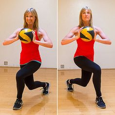 Use this exercise to tone the lower glutes as well as the inner thighs. Adding arm work makes this a time-saving full-body move.  Stand with your feet shoulder distance apart, holding a medicine ball. Take a large step diagonally forward with your