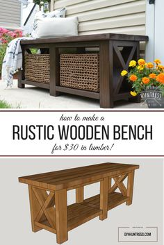 DIY Rustic X-Bench (Free Woodworking Plans) – DIY Huntress