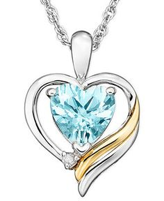 14k Gold and Sterling Silver Pendant, Aquamarine (1 ct. t.w.) and Diamond Accent - Necklaces - Jewelry & Watches - Macy's