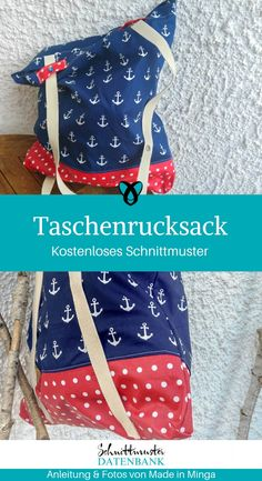 Taschenrucksack Pocket backpack 2 in 1 sewing pattern for free free tutorial idea sewing idea gift idea bag as backpack Sewing Patterns Free, Free Sewing, Free Pattern, Techniques Textiles, Sewing Techniques, Poncho Crochet, Diy Backpack, Backpack Pattern, Diy Handbag