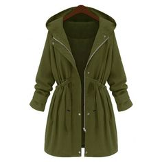 Yoins Yoins Plus Size Army Green Hooded Parka Coat (65 CAD) ❤ liked on Polyvore featuring outerwear, coats, coats & jackets, green, plus size parka, green parka coat, single breasted coat, parka coat and green coat