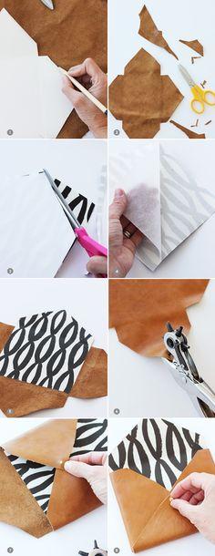 fabriquer-une-enveloppe-en-faux-cuir-ciseaux-papier-motifs-blanc-noir-geometriques-diy-activité-créative-crayon