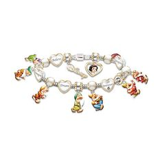 Disney's Snow White 75th Anniversary Commemorative Bracelet ($149) ❤ liked on Polyvore featuring jewelry, bracelets, disney, engraved heart charm, holiday jewelry, vintage heart charms, 18k bangle and vintage beaded jewelry