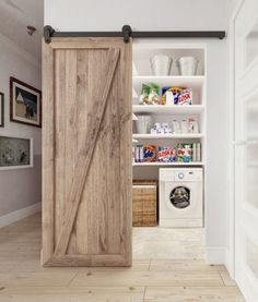 40 Stunning Rustic Functional Laundry Room Ideas Best For Farmhouse Home Design - Trendehouse Rustic Laundry Rooms, Tiny Laundry Rooms, Laundry Room Doors, Laundry Room Design, Laundry Nook, Dark Tile Floors, Barn Door Designs, White Subway Tiles, Farmhouse Homes