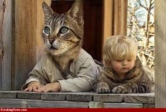 Funny Photoshop Pictures Humor | Above: A kid and his pet cat swap heads for an afternoon, creating a ...