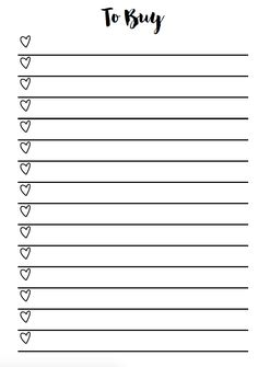 Hearts Checklist Planner Inserts - Free Printable