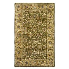 <li>Update your home decor with a new rug</li> <li>Area rug is made of 100-percent hand-spun wool </li> <li>Traditional rug features an olive background with a beige border</li>