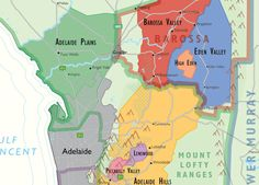Wine regions to the east and north east of Adelaide. Detail from De Long's wine map of Australia. Buy yours from Vinodiversity Clare Valley, Wine Varietals, Australia Map, Wine Making, Wineries, Beautiful Islands, Wine Country, Maps, Alternative