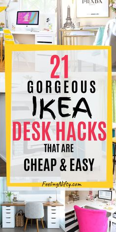 20 Awe-Inspiring Ikea Desk Hacks ideas that are Affordable and Easy. These cheap - IKEA Ikea Work Desk, Ikea Corner Desk, Desks Ikea, Ikea Office, Office Decor, Decorating Office At Work, Ikea Small Desk, Ikea Linnmon Desk, Desks For Small Spaces