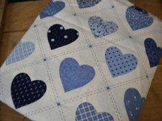 Vintage Fabric Yardage / Vintage Blue Hearts by JMFindsandDesigns