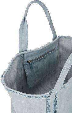 Barneys New York Fringed Denim Tote Bag - Pretty In Pastels - 505443981 Denim Tote Bags, Denim Purse, Diy Tote Bag, Jean Purses, Purses And Bags, Denim Bag Patterns, Casual Bags, Barneys New York, Shopping Bag