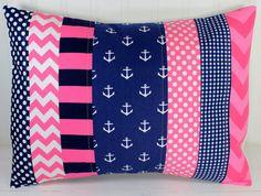 Nursery Pillow Cover, Throw Pillow Cover, Anchor Nursery Decor,  Pink and Navy Blue, Chevron, Anchors Nursery Decor Nautical, 12 x 16 Inches...