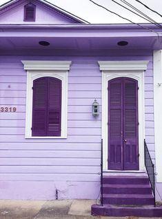 purple house, purple door