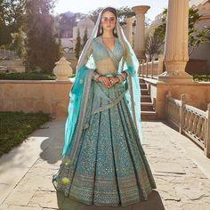 Firozi Blue Lehenga from Sabyasachi's 2019 Spring / Summer Collection. For customisation please contact our sales team through WhatsApp 61470219564 Sabyasachi Lehenga Bridal, Latest Bridal Lehenga, Blue Lehenga, Designer Bridal Lehenga, Indian Bridal Lehenga, Anarkali, Lehenga Gown, Designer Lehanga, Bollywood Saree