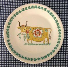 """Vtg c50s-60s Figgjo Flint Norway Dagros yellow cow tea side plate 7⅛"""" 16.2cm"""