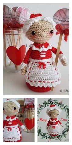 Crochet Christmas Decorations, Christmas Crochet Patterns, Holiday Crochet, Crochet Amigurumi Free Patterns, Crochet Doll Pattern, Crochet Dolls, Crochet Santa, Doll Patterns, Holiday Crafts