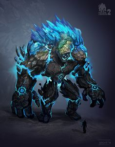 Earth-ice golem, Dimitar Bochukov on ArtStation at https://www.artstation.com/artwork/8mNZm