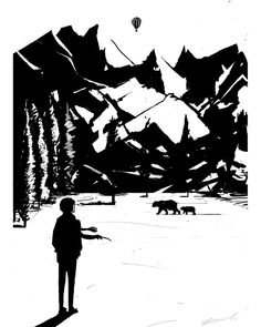 Inktober2016 #mountains #ink #nature #bear #trees #landscape #travel #balloon #blackandwhite