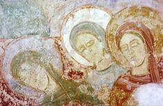 Chapelle St Jean Baptiste de la chartreuse du Liget, en Touraine; fresques du 12ème s.