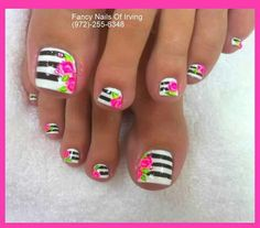Pink Flowers Nails Toe Uñas De Rosas Para Los Pies Nail Art