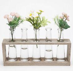 Test tube/beaker flower vases.