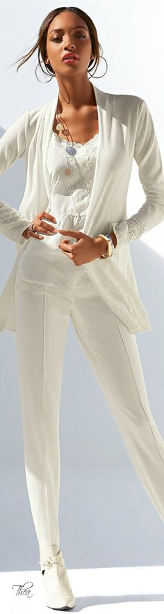 Dressing For My Life, Patti Montgomery.  Casual wear in white.  White cardigan, white embellished top, white stretch skinnies, worn with white shoes