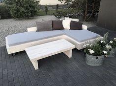 Komplet wypoczynkowy na taras . Drewno zaimpregnowane , bielone woskiem , możliwość rozkręcenia w celu przechowania na zimę  Wymiary i kolor do uzgodnienia ... Ten ze zdjeć jest 270/180