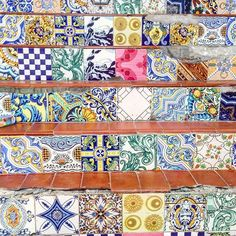 I found some pretty steps in a bombed out building #tileaddiction #tiles #tiled #tiledesign #staircase #stairs #steps #colourful #mosaic #art #abandonedplaces #patterns by lulual