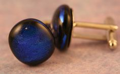 Fused Glass Cuff Links No. 501 by paulasstressart on Etsy